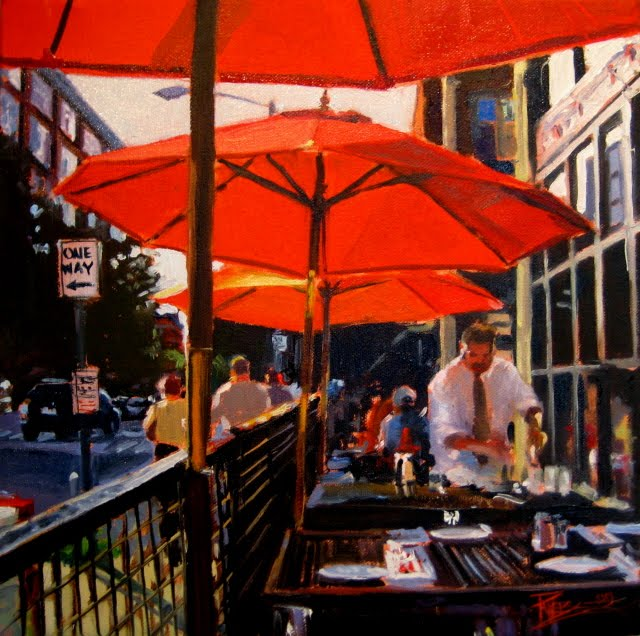 """Bell Town  Seattle city scene oil painting"" original fine art by Robin Weiss"