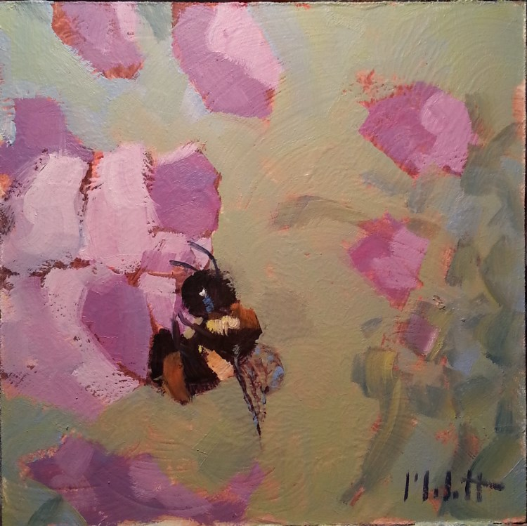 """Sweet Peas and Bumble Bees Original Art for Sale"" original fine art by Heidi Malott"
