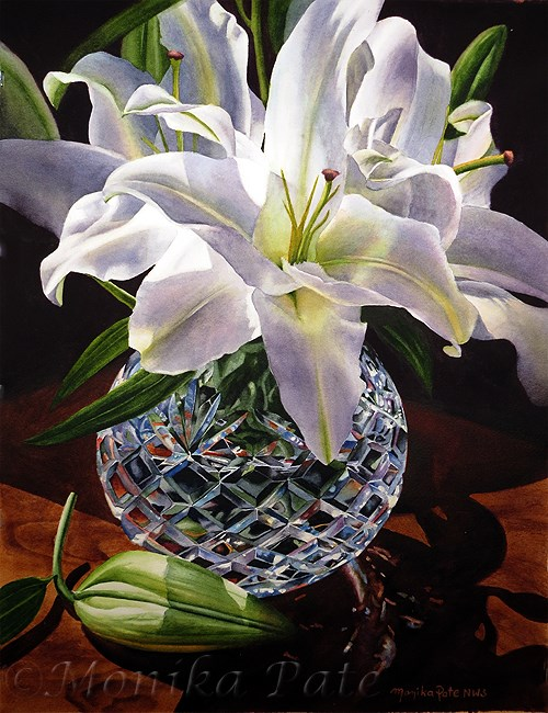 """White Lilies and Crystal"" original fine art by Monika Pate"