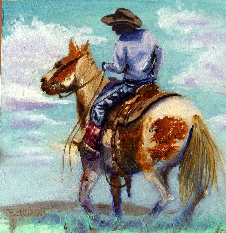 """Young Cowboy"" original fine art by Jolynn Clemens"