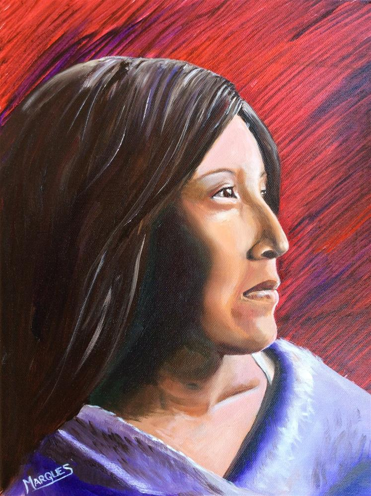 """Indian woman"" original fine art by Kathy Marques"