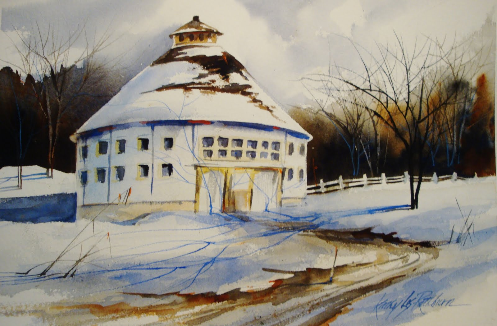 """Round Barn in Winter"" original fine art by Kathy Los-Rathburn"