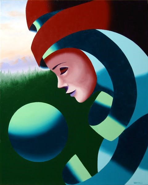 """Mark Webster - Eos - Abstract Mask Oil Painting with Sphere"" original fine art by Mark Webster"