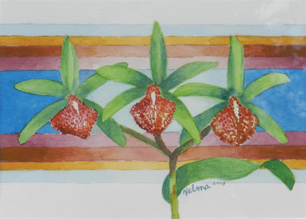 """Three Green Orchids"" original fine art by Velma Davies"