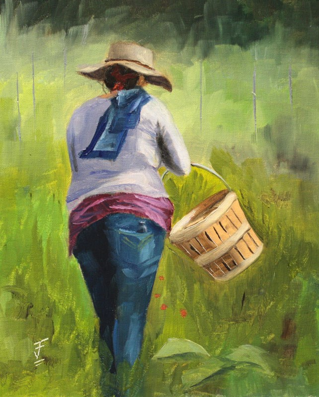 """Harvesting at Boggy Creek Farm"" original fine art by Jane Frederick"