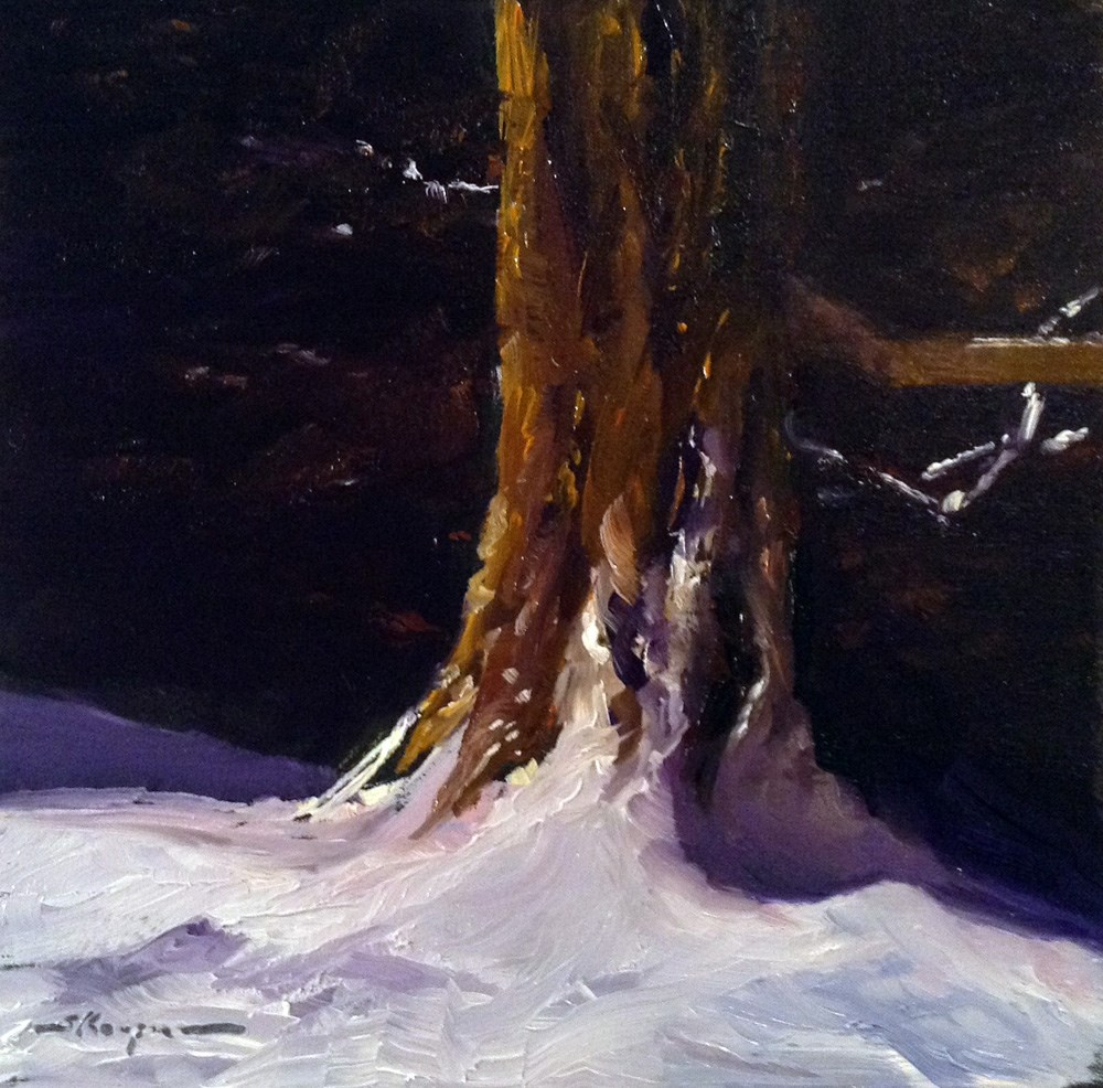 """Tree Trunk in Snow"" original fine art by Shelley Koopmann"