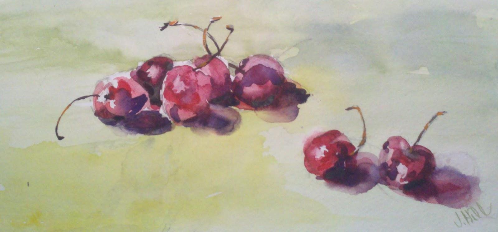 Rollie Pollie Cherries original fine art by Julie Hill