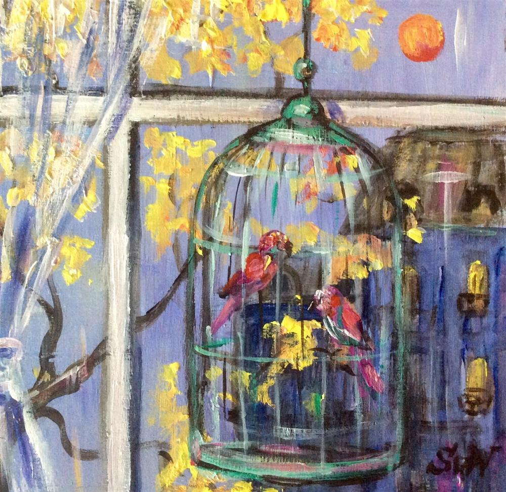 """Twilight birdcage"" original fine art by Sonia von Walter"