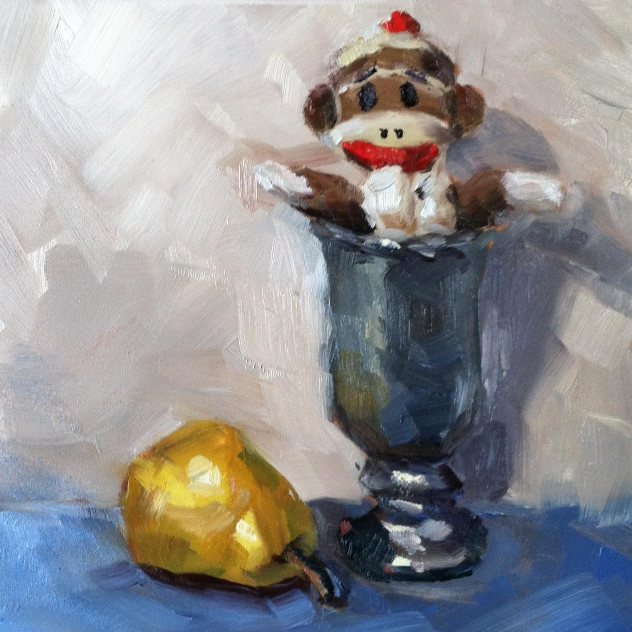 """Still Life with Sock Monkey"" original fine art by Kristen Dukat"