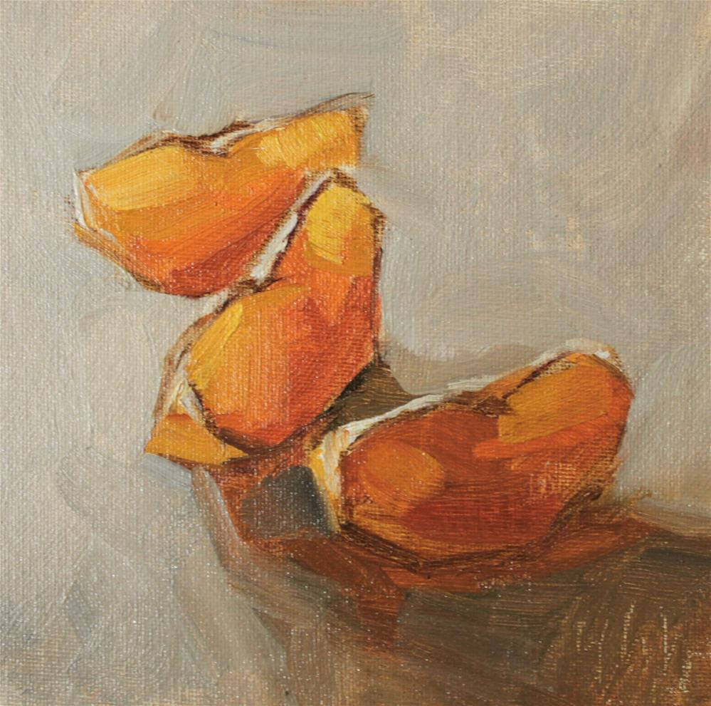 """three pieces oranges"" original fine art by Yuehua He"