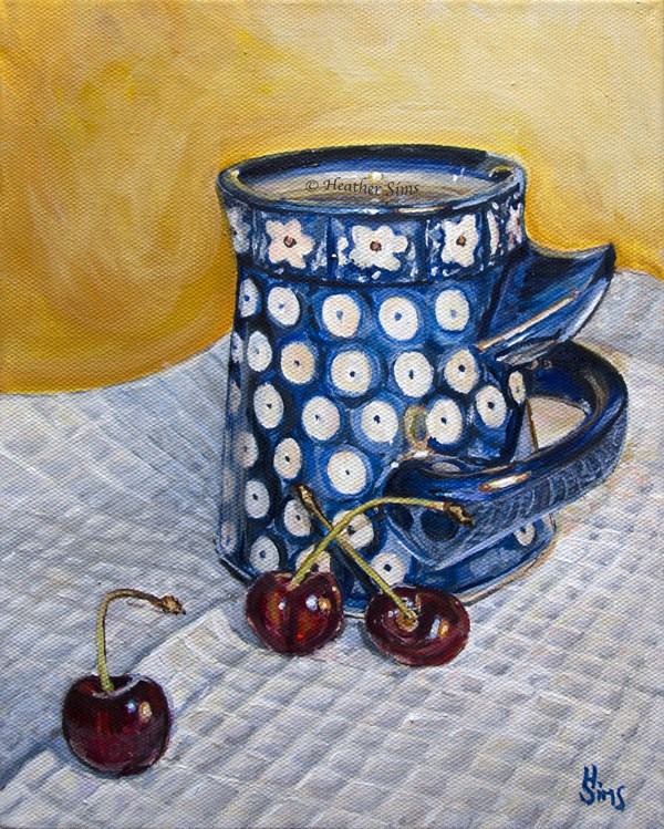 """Cherries: Polish Pottery LXXXVI"" original fine art by Heather Sims"