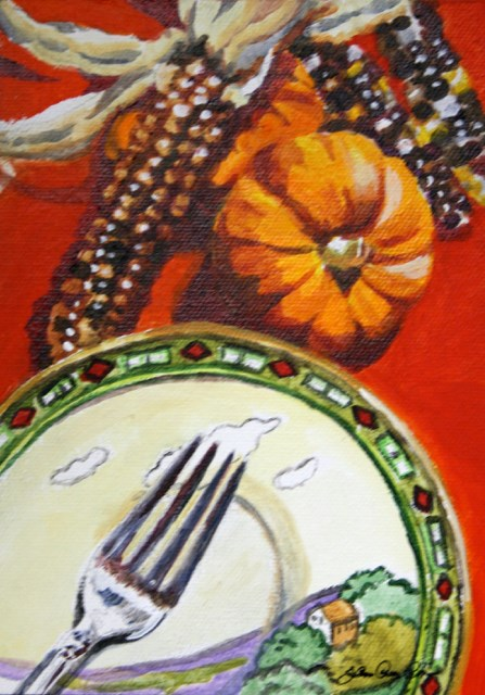 """""""Happy Pie Day"""" original fine art by JoAnne Perez Robinson"""