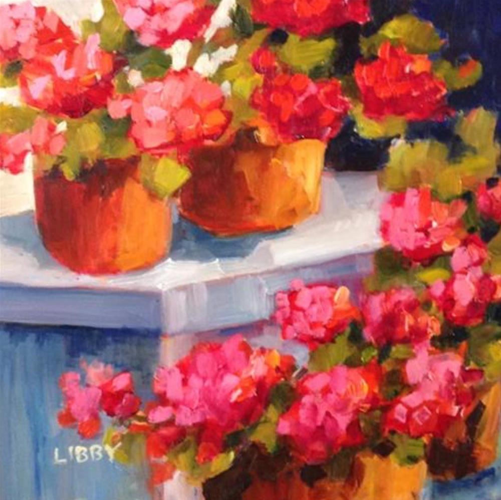"""Geranium Levels"" original fine art by Libby Anderson"