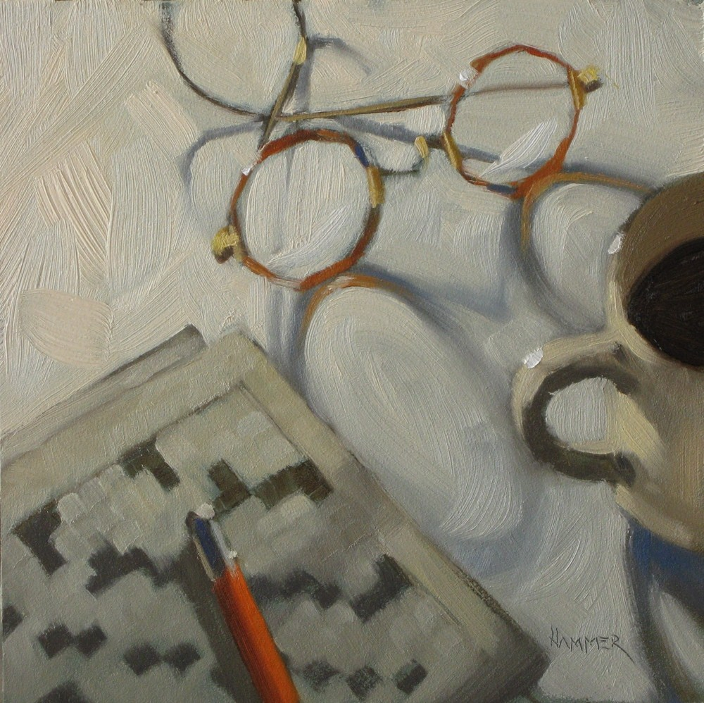 """Crossword puzzle  6x6  oil"" original fine art by Claudia Hammer"