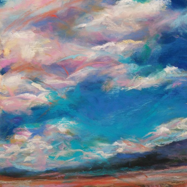 """WANDERING PINKS - 4 1/2 x 4 1/2 pastel landscape by Susan Roden"" original fine art by Susan Roden"