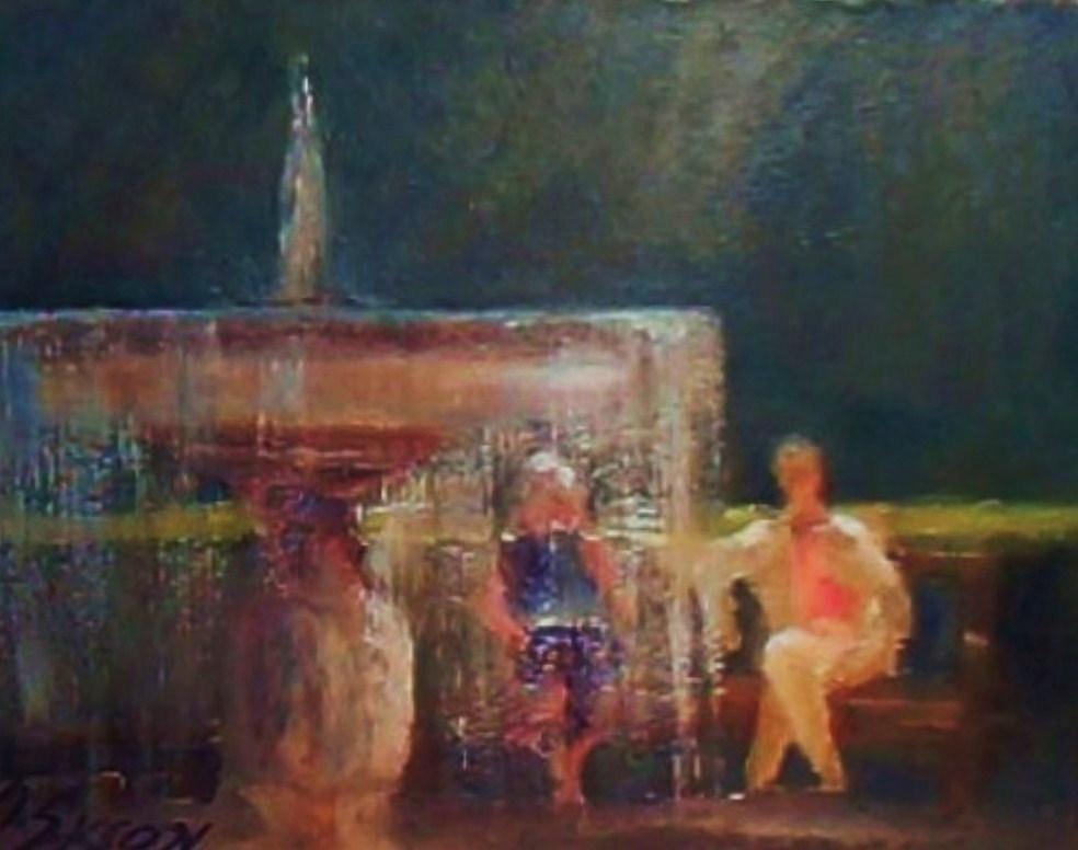 """By the fountain"" original fine art by Michael Sason"