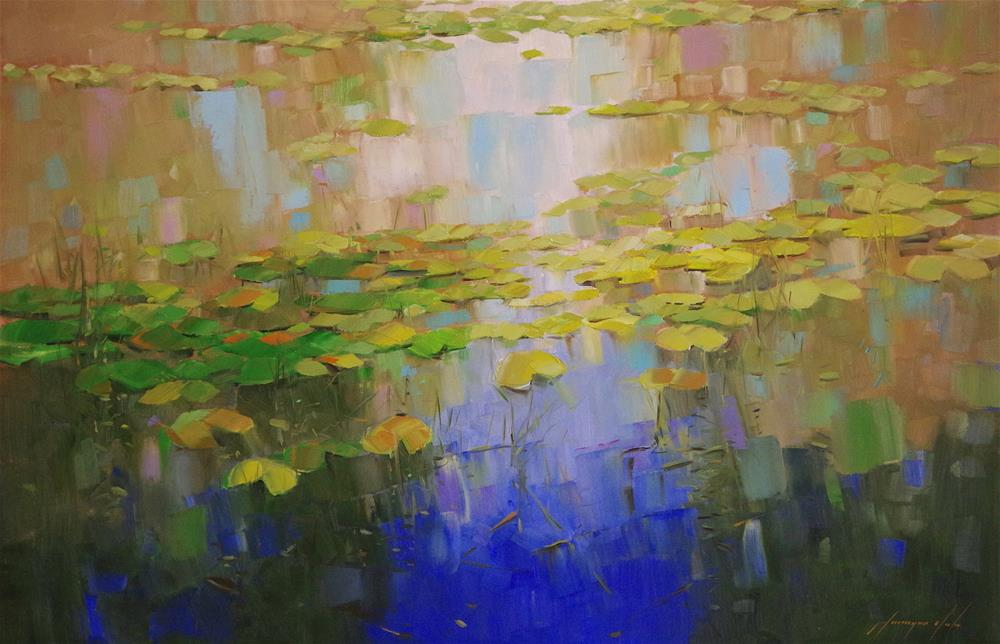 """""""Waterlilies Garden, Landscape oil Painting by Palette Knife, One of a Kind"""" original fine art by V Y"""