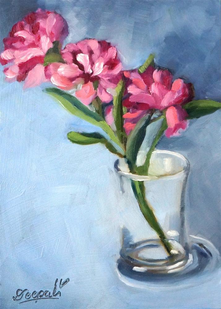 """Pink Flowers"" original fine art by Dipali Rabadiya"