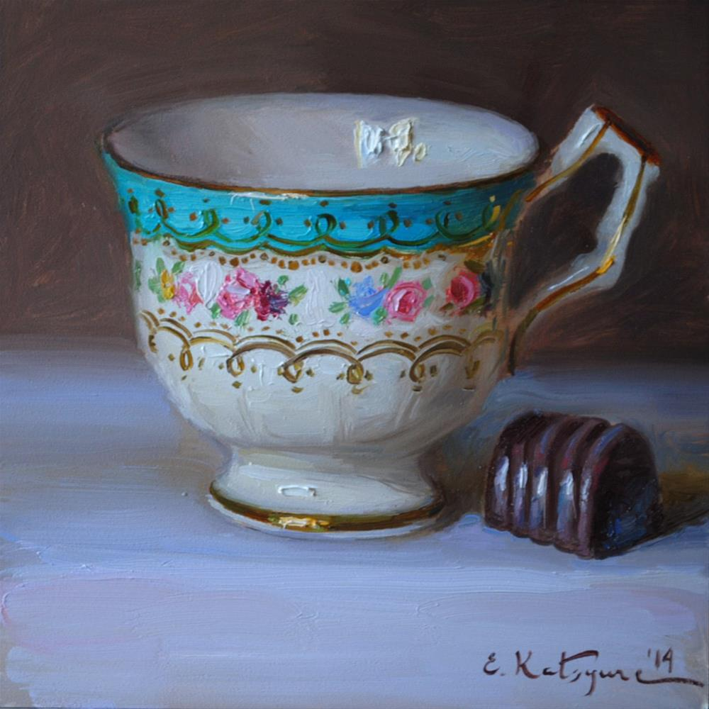 """Teacup and Chocolate"" original fine art by Elena Katsyura"