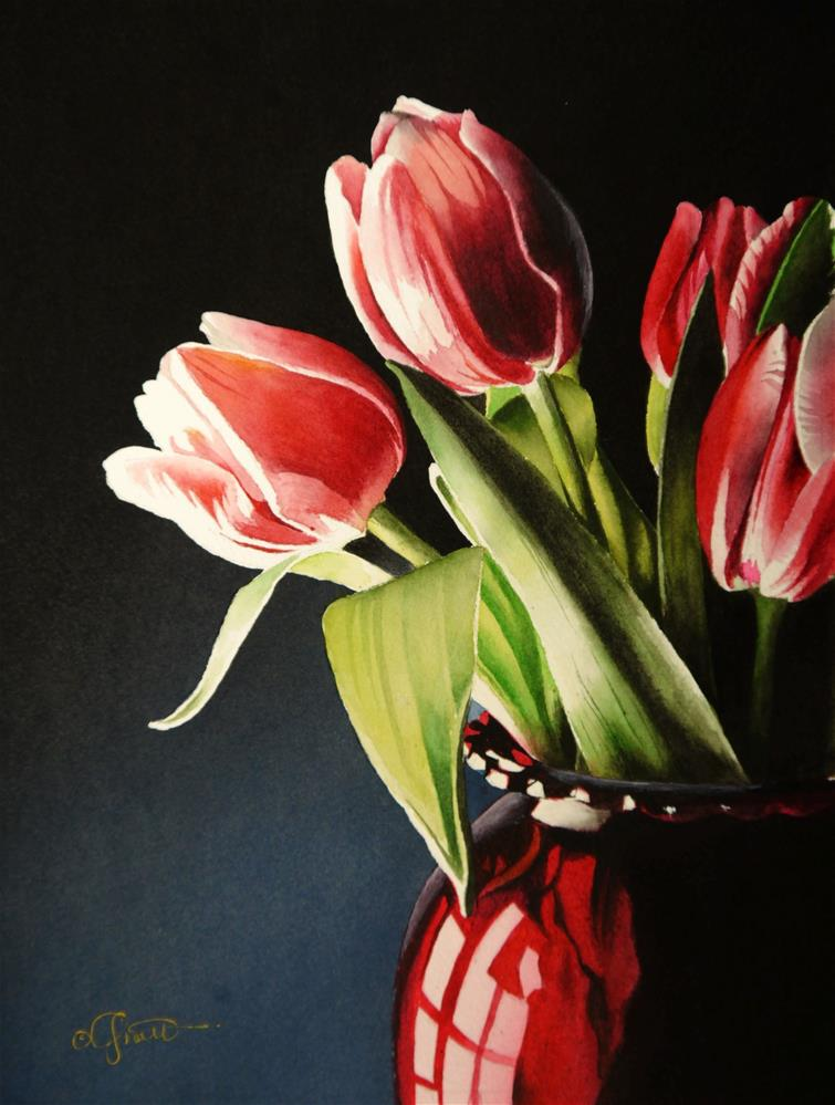 """Tulips in Red Vase"" original fine art by Jacqueline Gnott, whs"