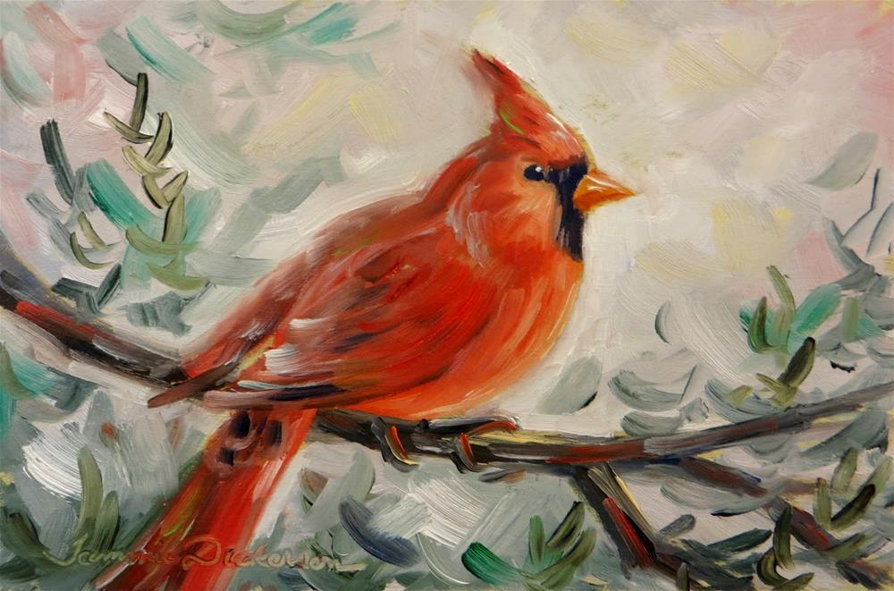 """Cardinal on the Cedar"" original fine art by Tammie Dickerson"