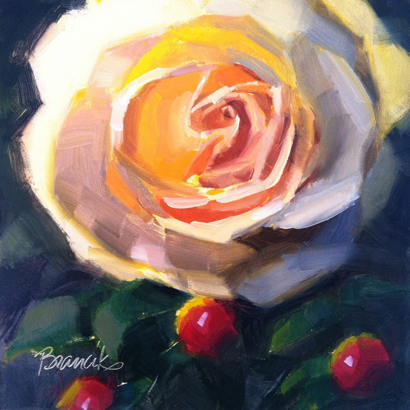 """Rose and Berries"" original fine art by Candace Brancik"