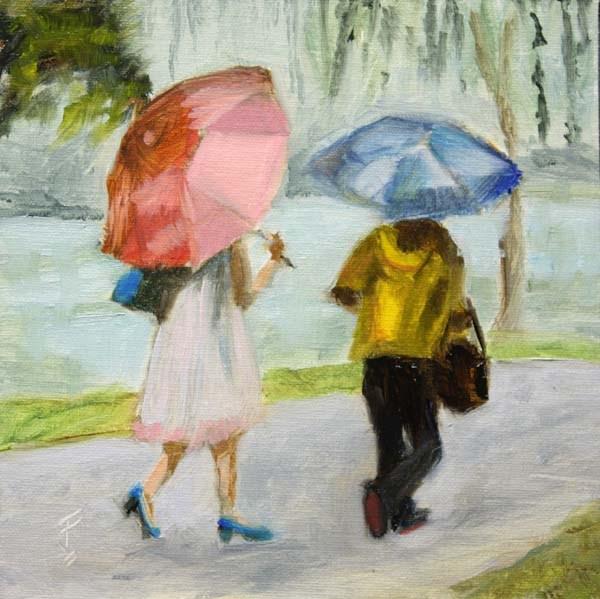 """Strolling in the Rain"" original fine art by Jane Frederick"