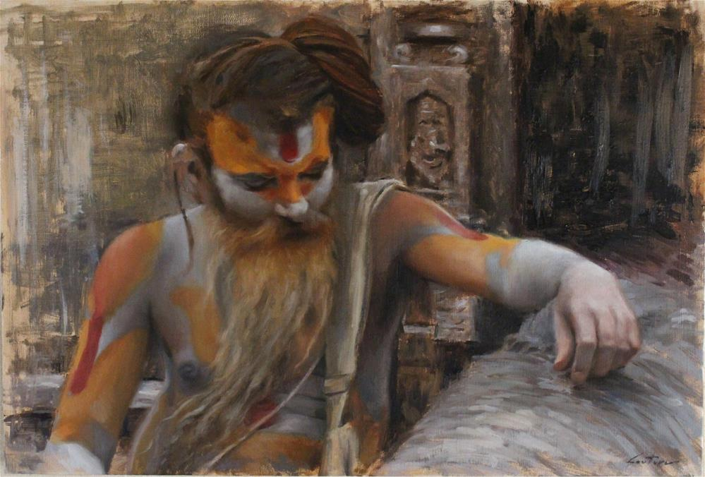"""Sadhu on the Banks of Bagmati"" original fine art by Phil Couture"