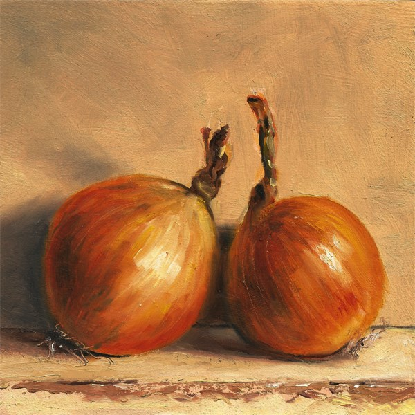 """Two onions leaning"" original fine art by Peter J Sandford"