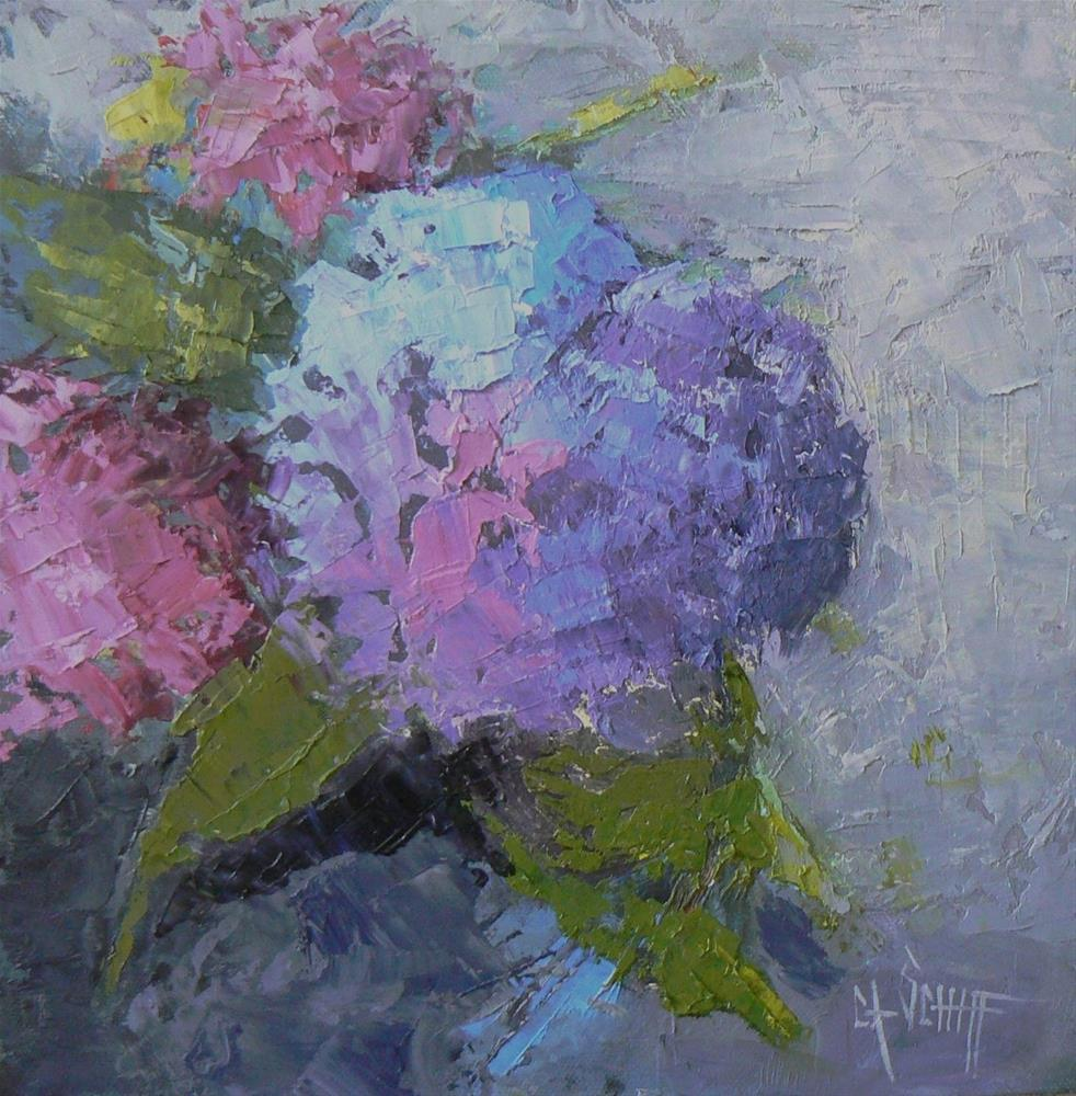 """Daily Painting, Painting on Sale, Small Oil Painting,  Hydrangea Painting, 10x10 Still Life Floral"" original fine art by Carol Schiff"