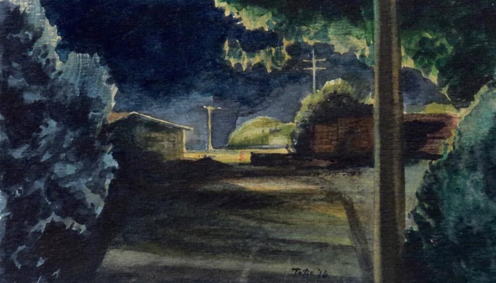 """Suburb Nocturne"" original fine art by David J. Teter"
