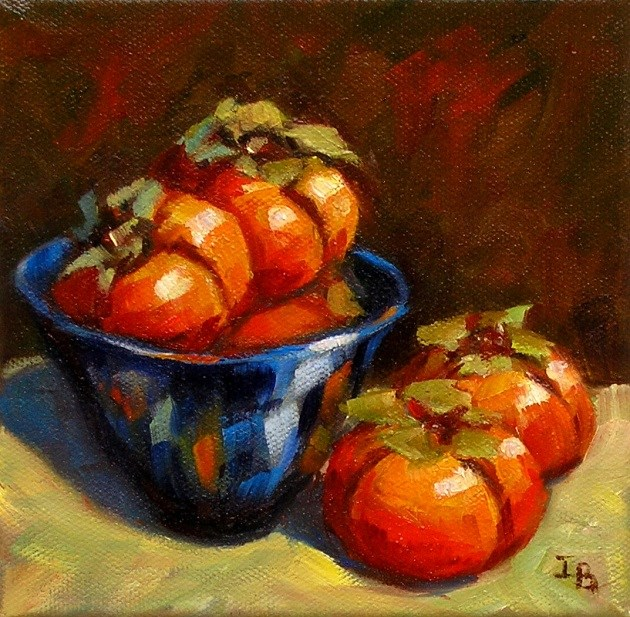 """Persimmons in Blue Bowl"" original fine art by Irina Beskina"