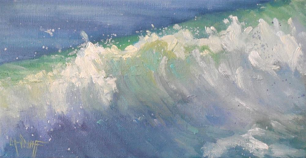 """Seascape Painting, Daily Painting, Small Oil Painting, Caribbean Blue, 6x12x.75"" original fine art by Carol Schiff"