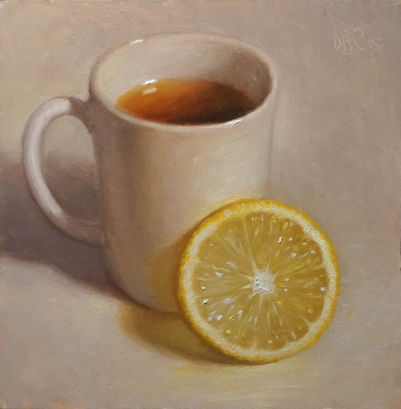 """Tea and Lemon"" original fine art by Debra Becks Cooper"