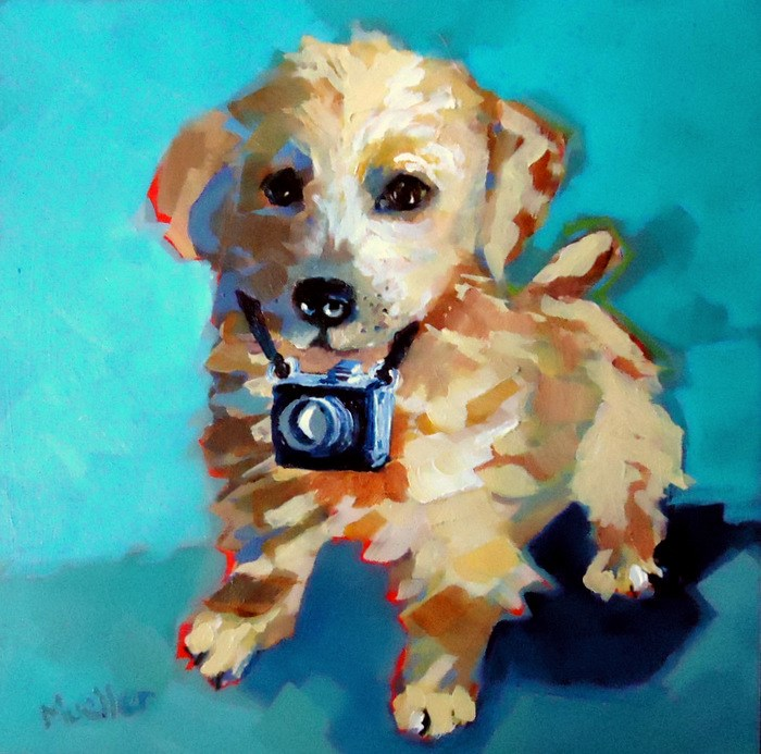 """Puparazzi"" original fine art by Laurie Mueller"
