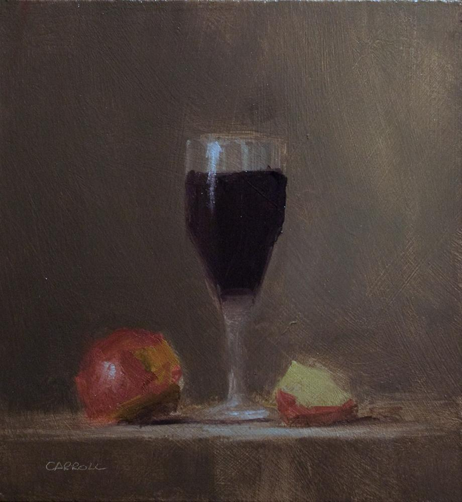 """Glass of Red - study"" original fine art by Neil Carroll"