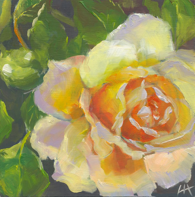 """yellow rose No.2"" original fine art by Hui (Hue) Li"