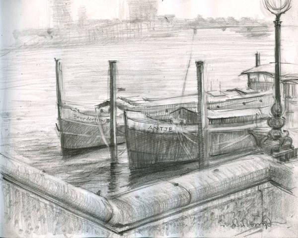 """""""Boats Along Chelsea Moorings (6) Chelsea Marathon"""" original fine art by Adebanji Alade"""