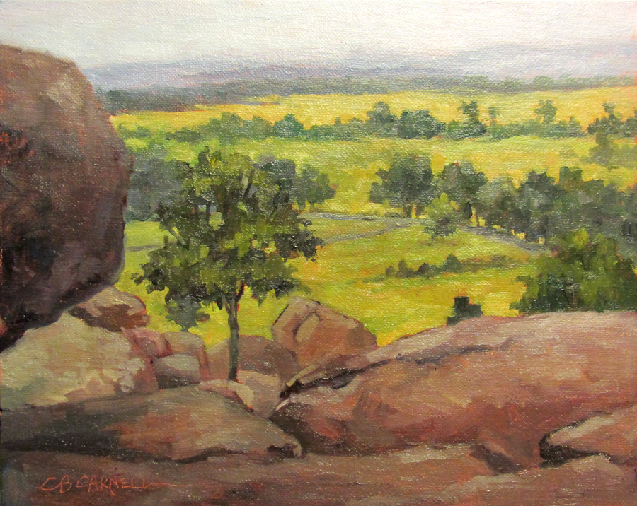 """""""VIEW FROM LITTLE ROUND TOP Original Plein Air Oil Painting by Claire Beadon Carnell"""" original fine art by Claire Beadon Carnell"""