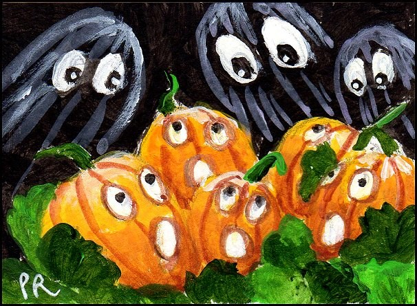 """Halloween Madness: Terrified Pumpkins"" original fine art by Patricia Ann Rizzo"