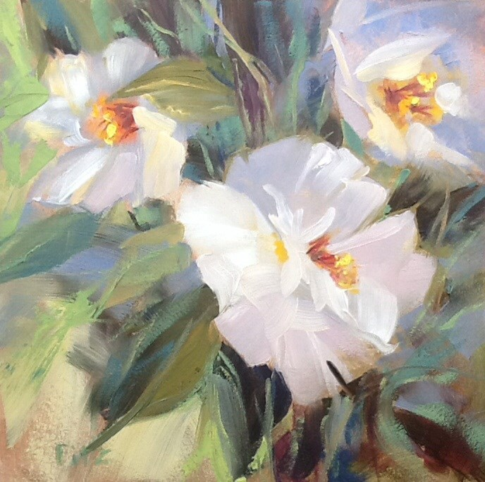 """White Camellia"" original fine art by Jean Fitzgerald"