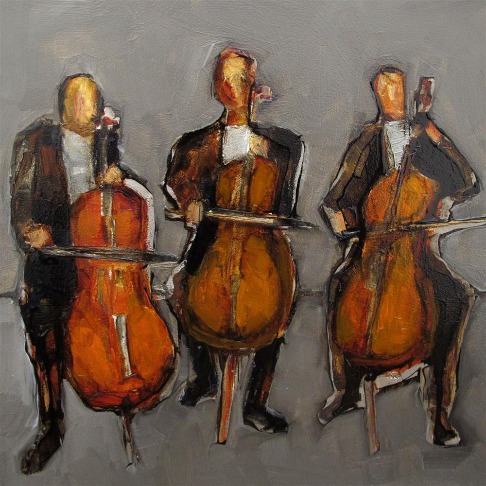 """CELLO TRIO Original ABSTRACT FIGURE Art Painting OIL"" original fine art by Colette Davis"