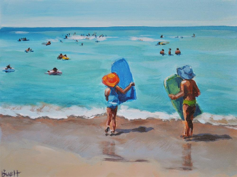 """Waikiki Boogie Boarders"" original fine art by Shari Buelt"