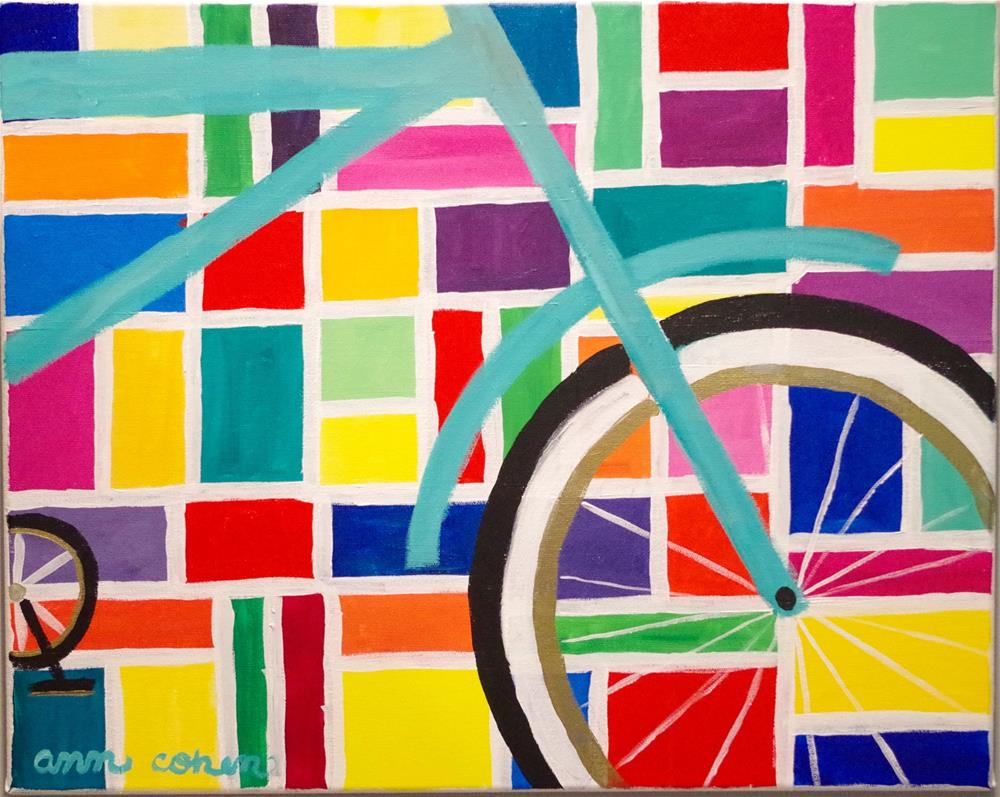 """""""Teal Bicycle"""" original fine art by Ann Cohen"""