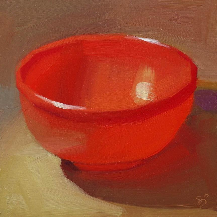 """""""Red bowl"""" original fine art by Istvan Schaller"""