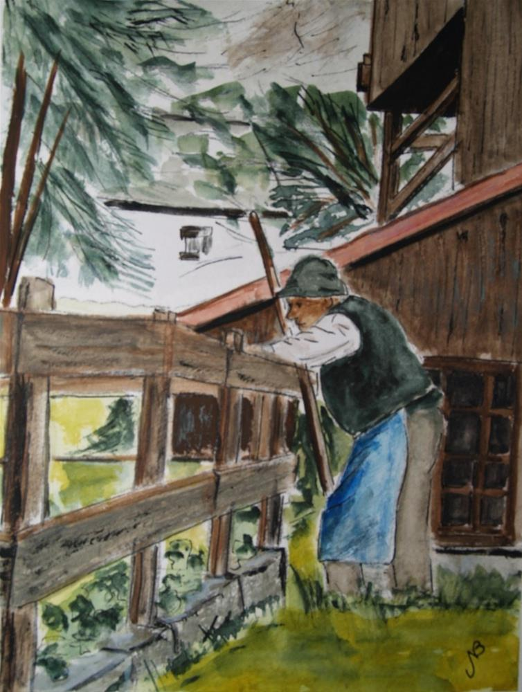 """Pensive Italian Farmer  watercolor 8 x6"" original fine art by Nancy Beard"