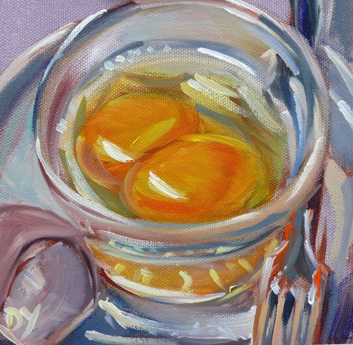 """A King's Breakfast, 6x6 oil on canvas board"" original fine art by Darlene Young"