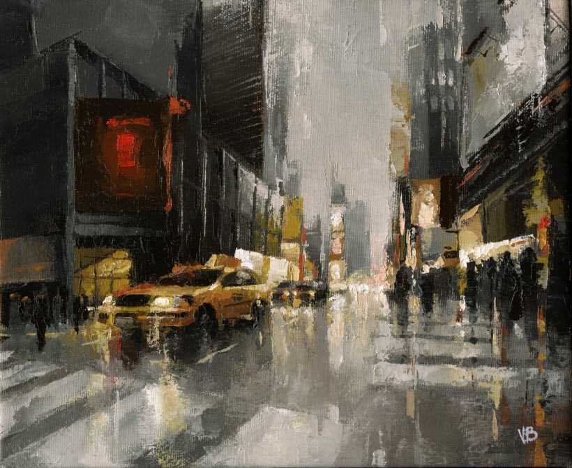 """Times Square"" original fine art by Victor Bauer"
