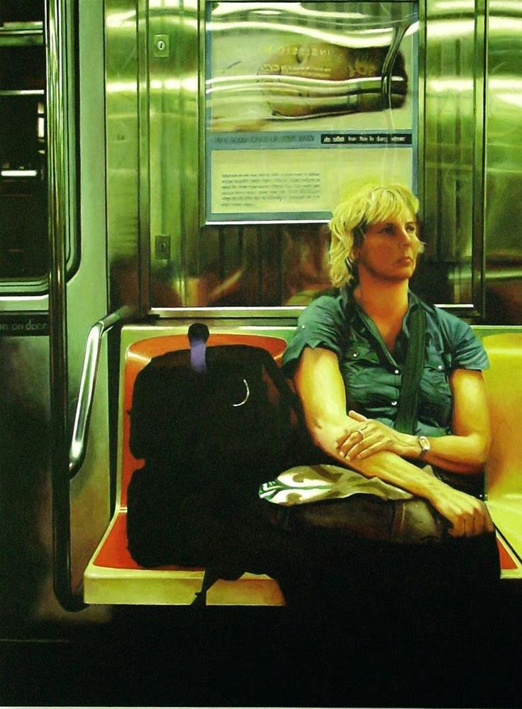 """Thoughts- Painting Of Woman Riding The New York Subway"" original fine art by Gerard Boersma"