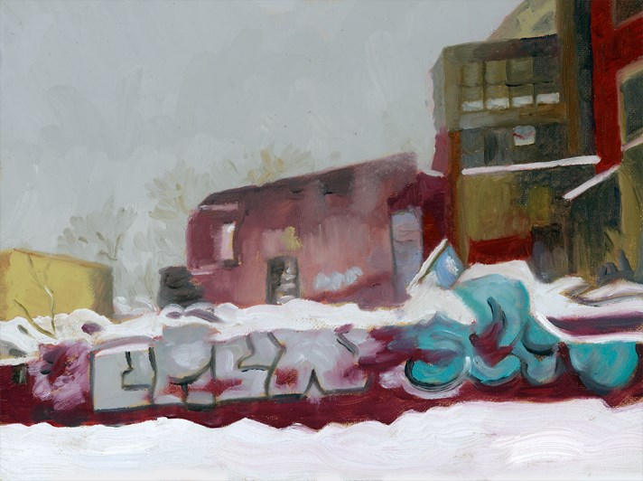 """Graffiti and Snow"" original fine art by Nancy Herman"